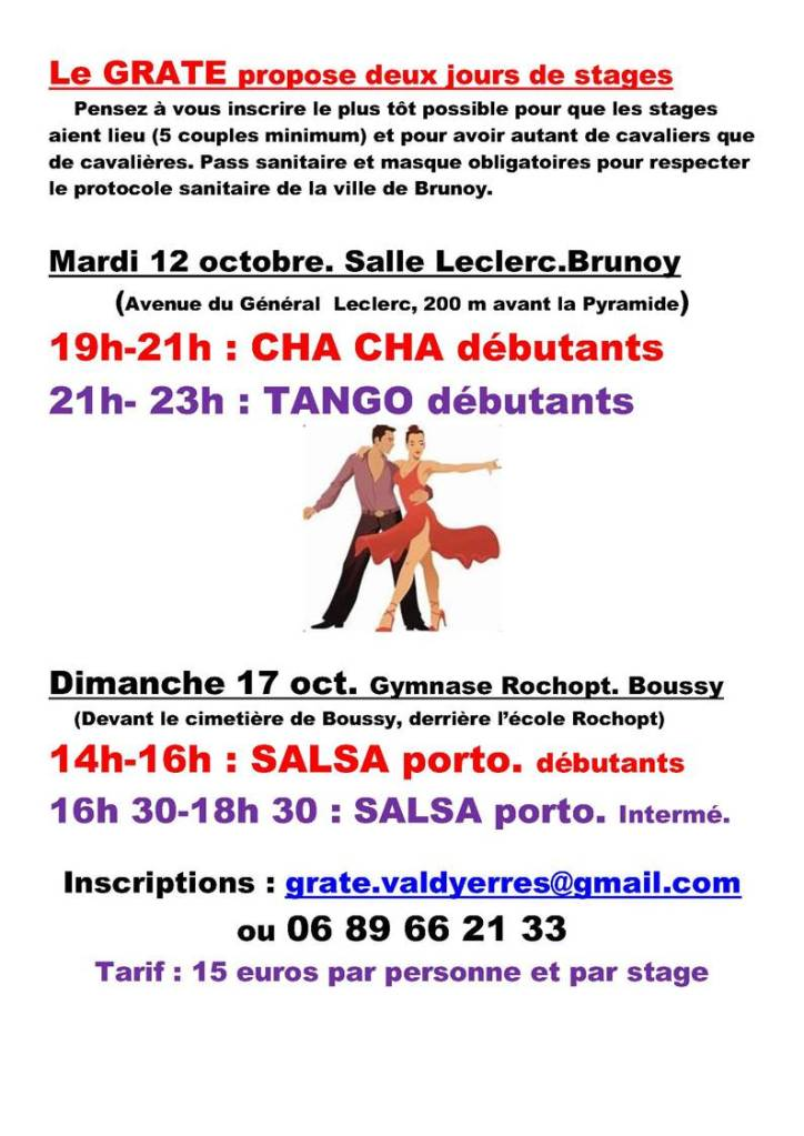 Stages de cha cha, de tango, et de salsa à Boussy Saint Antoine